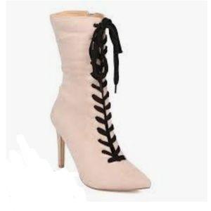 Stileto Heels Cream Black Lace Up New 7.5 or 7